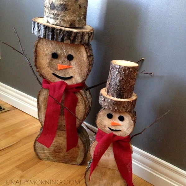 log snowmen decorations for christmas winter crafty morning
