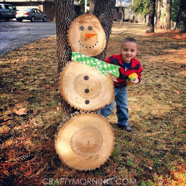 log snowman christmas craft