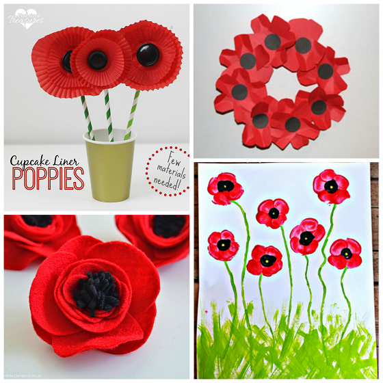Veterans Day Poppy Flower Craft