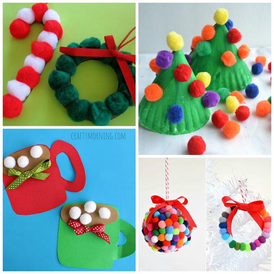 Pom pom christmas crafts for kids crafty morning for Pom pom crafts