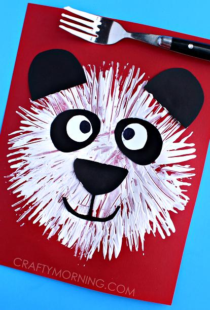 cute-fork-print-panda-bear-kids-craft-