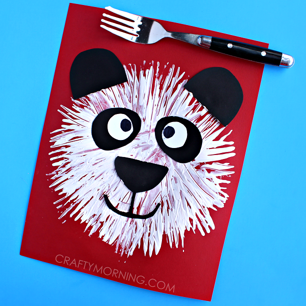 cute-fork-print-panda-bear-kids-craft