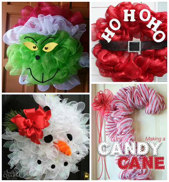 Fun christmas deco mesh wreath ideas crafty morning for How to make christmas door wreaths