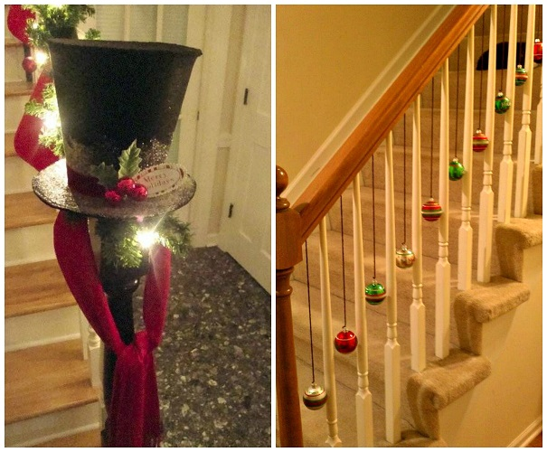 Fun ways to decorate stairs for christmas crafty morning for Stair railing decorated for christmas