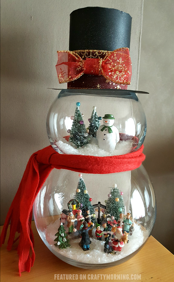 Fish bowl snowman craft crafty morning - Fish tank christmas decorations ...