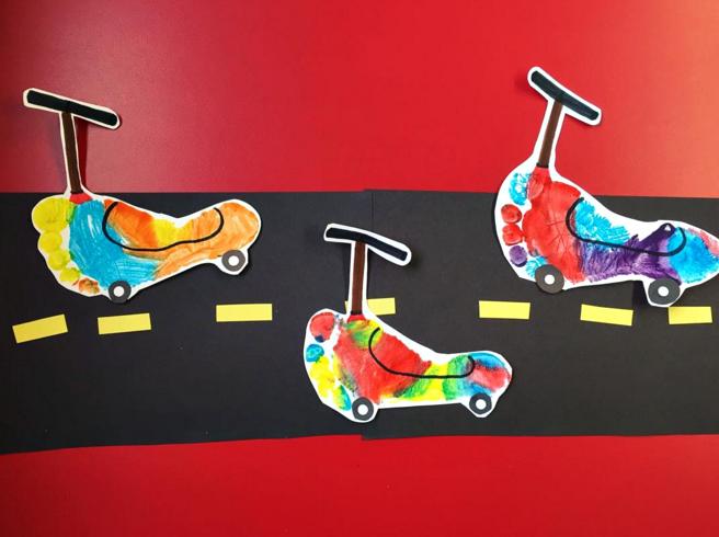 Footprint handprint transportation crafts for kids for Car craft for kids