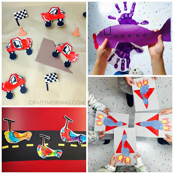 Footprint Handprint Transportation Crafts For Kids Crafty Morning