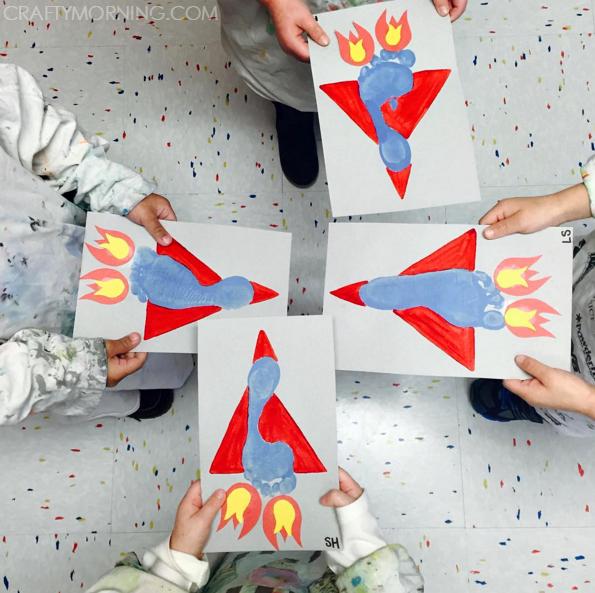 Footprint Handprint Transportation Crafts For Kids