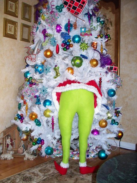 grinch stuck in christmas tree - White Christmas Tree Decoration Ideas