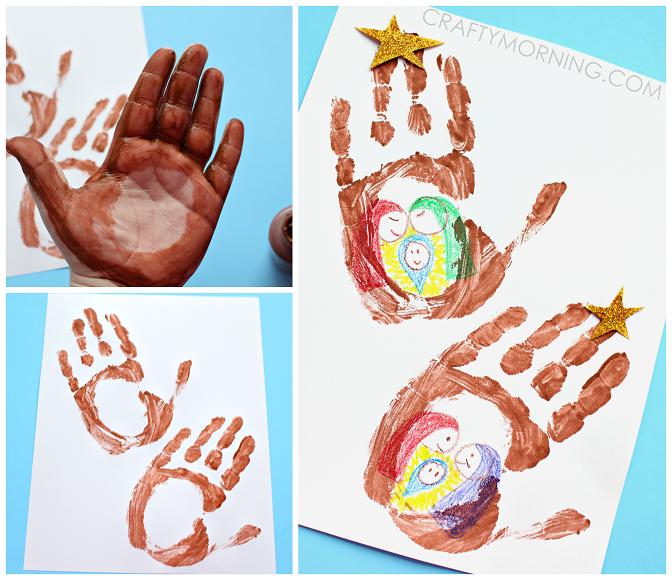 Handprint Stable (Jesus in a Manger Kids Craft) - Crafty Morning