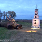 Frozen Olaf and Sven Hay Bale Display
