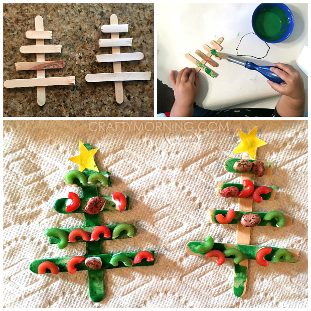 Popsicle Stick Christmas Tree Noodle Kids Craft