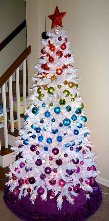 rainbow white christmas tree decorating - Pictures Of White Christmas Trees Decorated