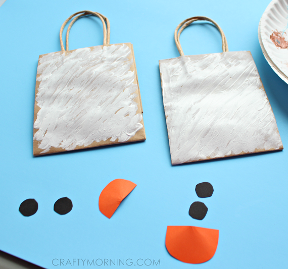Snowman gift bags for kids to make crafty morning for Craft paper gift bags
