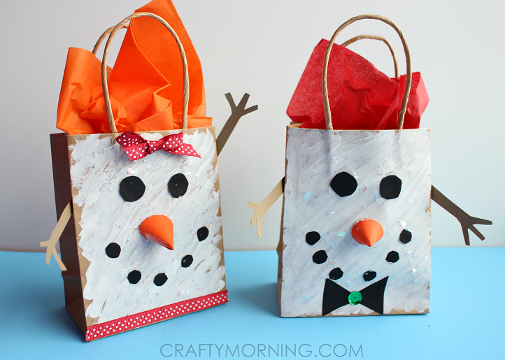 Snowman gift bags for kids to make crafty morning for Brown paper bag crafts for preschoolers