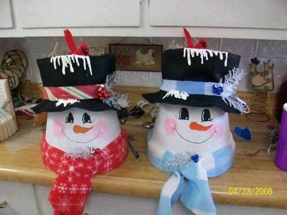 Pants Flower Pot Nutcracker Decoration Terra Cotta Pot Stacked Snowman ...
