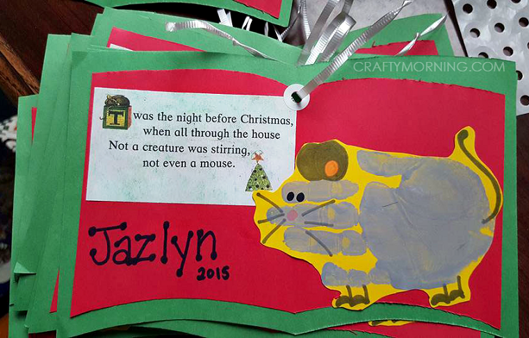 twas the night before christmas handprint mouse craft
