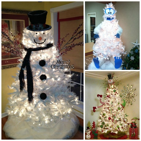 clever white christmas tree decorating ideas crafty morning - Snowman Christmas Tree Decorations