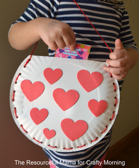 Paper plate valentine bag craft for kids crafty morning for Valentines day art and crafts for preschoolers