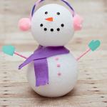 Foam Ball Winter Snowman Craft for Kids
