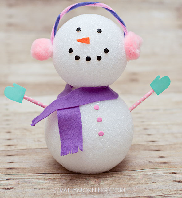 foam ball winter snowman craft for kids crafty morning