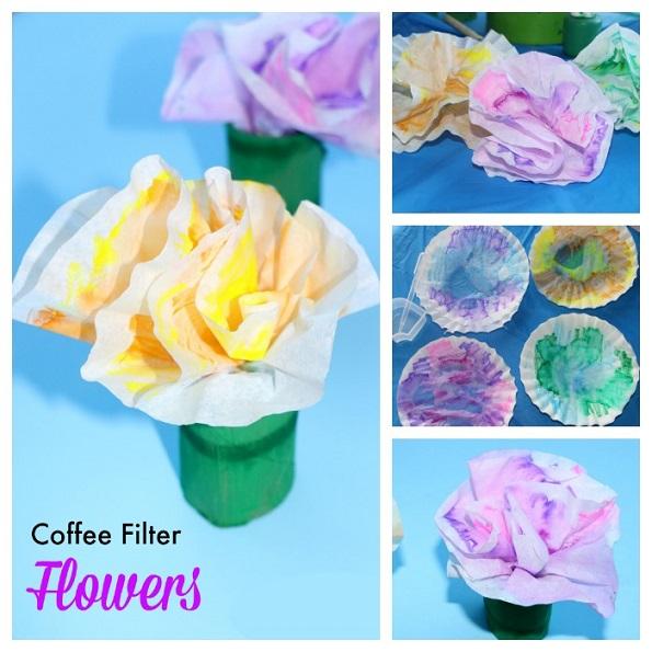 Coffee filter flowers in a cardboard tube craft crafty for Cardboard tube flowers