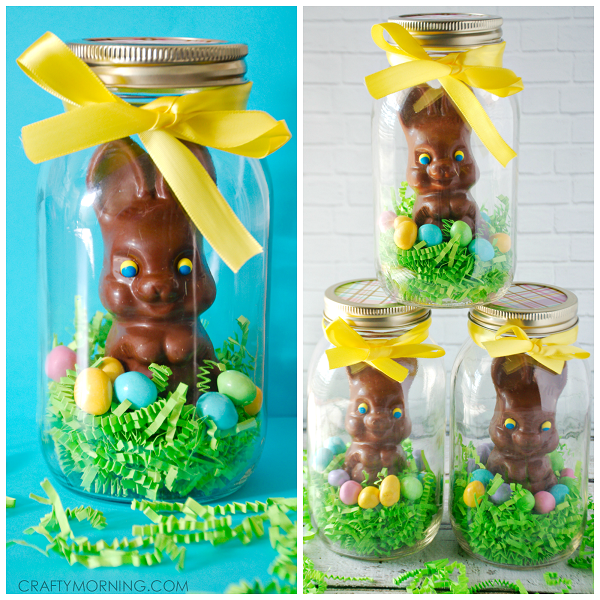 Mason jar chocolate easter bunny gifts crafty morning cute mason jar chocolate easter bunny gifts negle Image collections