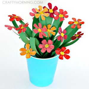 3D Paper Flower Bouquet Craft for Kids