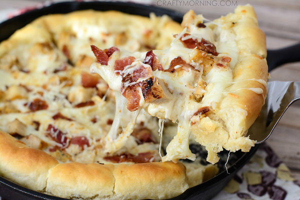 Deep Dish Chicken Alfredo Pizza