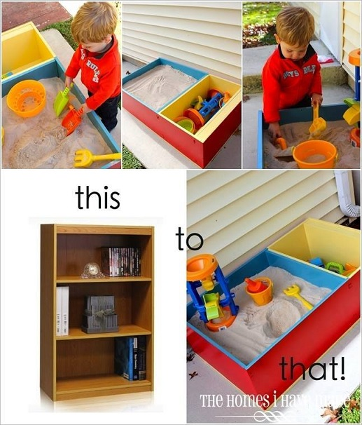 Turn a regular old bookcase into a colorful sandbox for your kiddos! I ...