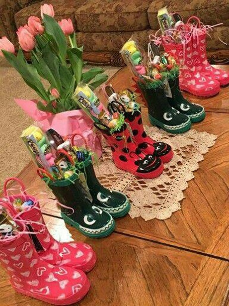 Unique easter basket ideas for kids crafty morning rainboot easter basket fill cute rain boots with grass candy and eggs unknown source negle Images