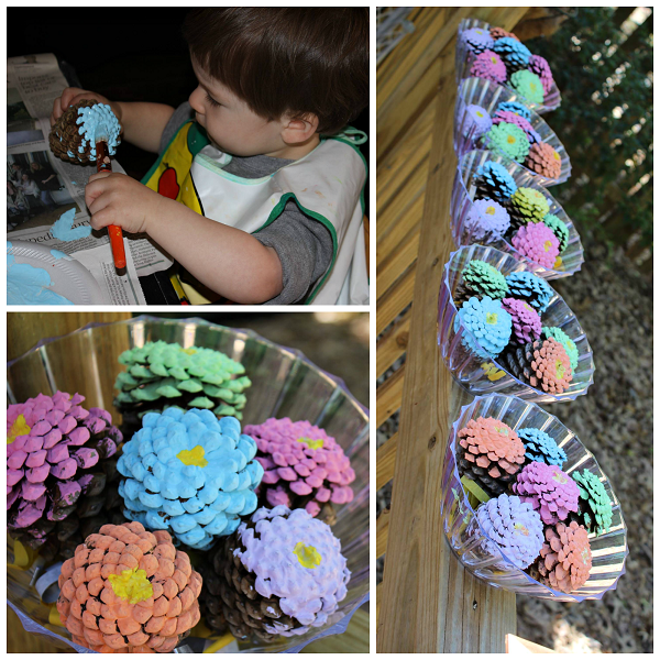 Pinecone flower bouquets kids craft crafty morning for Pine cone art projects