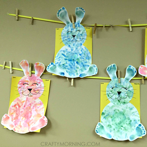 Footprint/Handprint Easter Bunny Craft for Kids - Crafty ...
