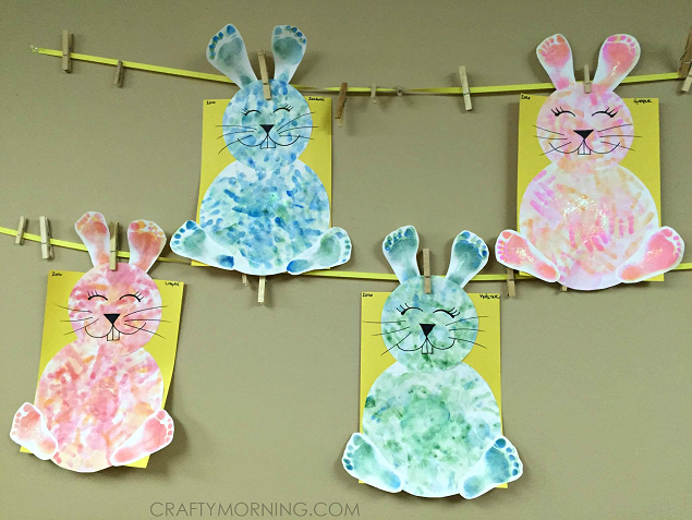Footprint Handprint Bunny Easter Kids Craft