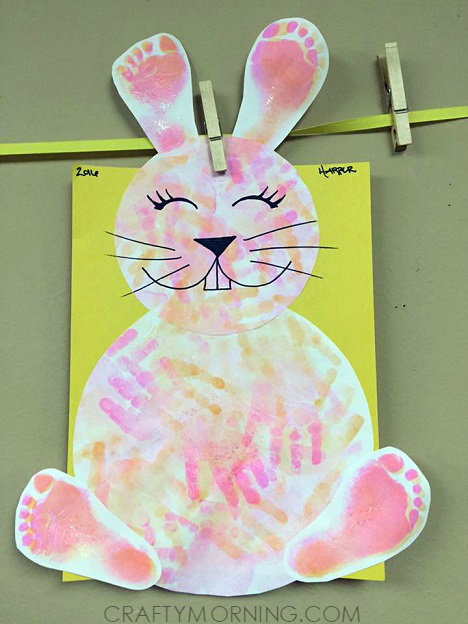Footprint Handprint Easter Bunny Craft For Kids Crafty Morning