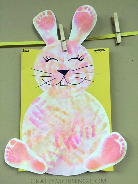 Footprint/Handprint Easter Bunny Craft for Kids - Crafty ...
