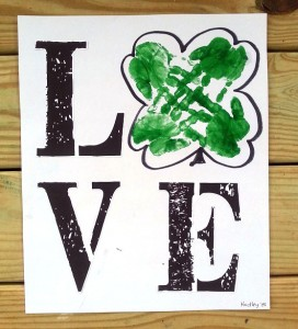 Handprint Shamrock St. Patrick's Day Canvas