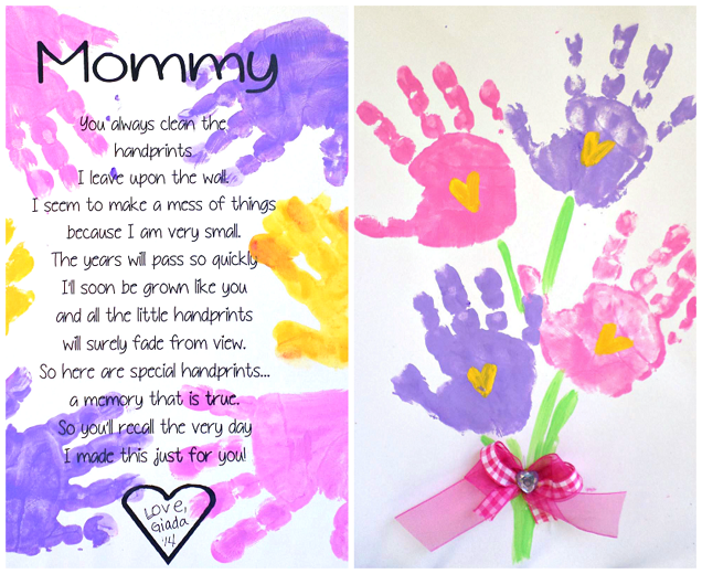 Printable handprint mother 39 s day poem crafty morning for Mother s day projects for preschoolers