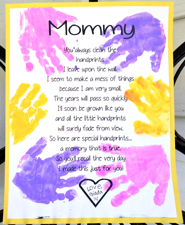 Mothers Day Handprint Crafts Printable handprint mother's day poem ...