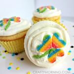 Rainbow Candy Shamrock Cupcakes