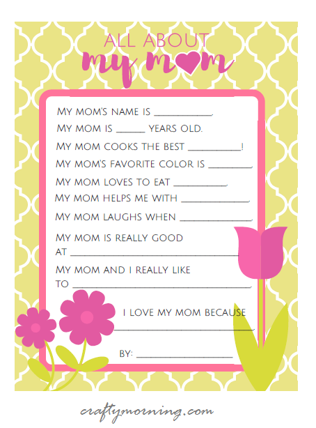 Nice All About Mom Mothers Day Printable For Kids