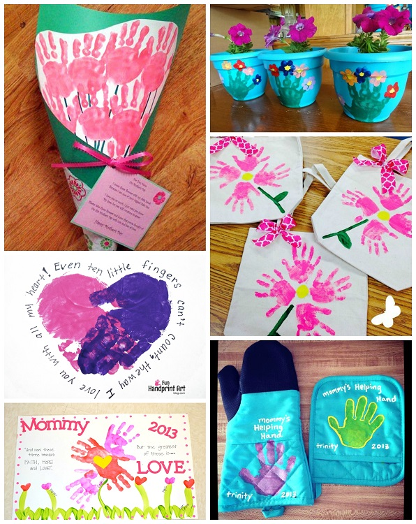 Beautiful Arts And Crafts Gift Ideas For Kids Part - 10: Cute-mothers-day-handprint-crafts-gifts-from-kids