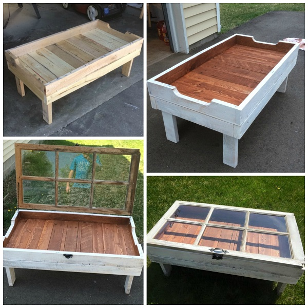 Diy Wood Pallet Window Coffee Table Crafty Morning