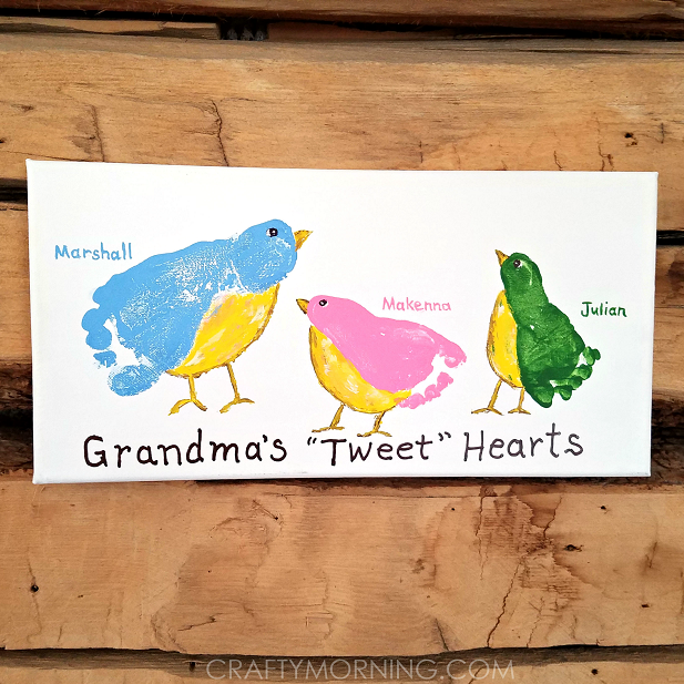 Grandma 39 S Tweet Hearts Kids Footprint Canvas Crafty