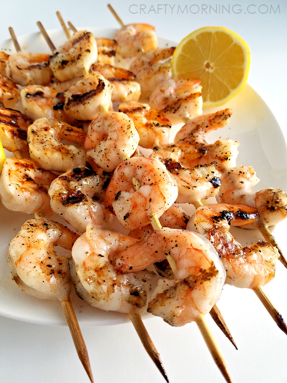Grilled Chicken And Shrimp Kebabs With Lemon And Garlic ...