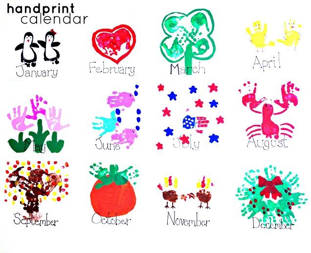 April Handprint Calendar : Handprint kids calendar craft idea crafty morning