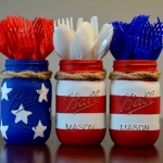 Mason Jar 4th of July Silverware Holders