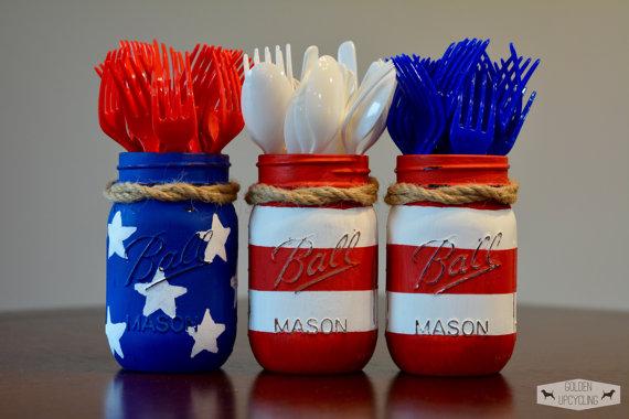 Mason Jar 4th Of July Silverware Holders Crafty Morning