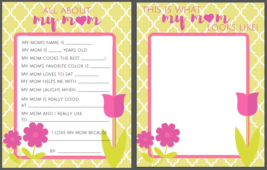 Mothers Day All About Mom Printable For Kids