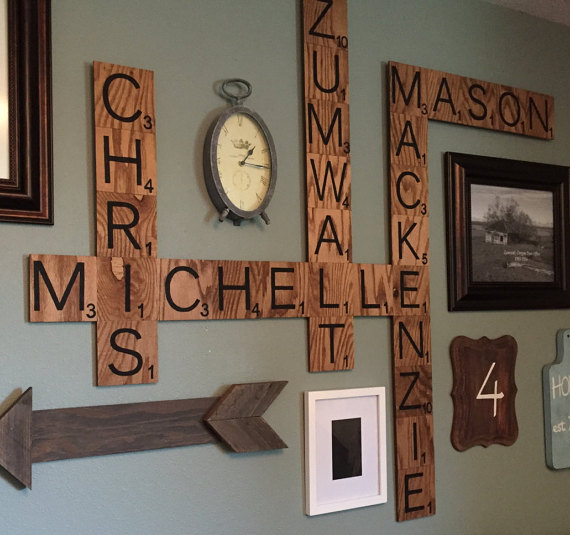 Family wood scrabble wall art crafty morning for Large scrabble letters wall decor